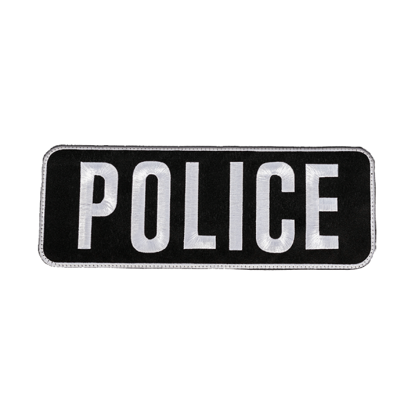 """""""POLICE"""" Large Embroidered Name Plate – Black/White"""