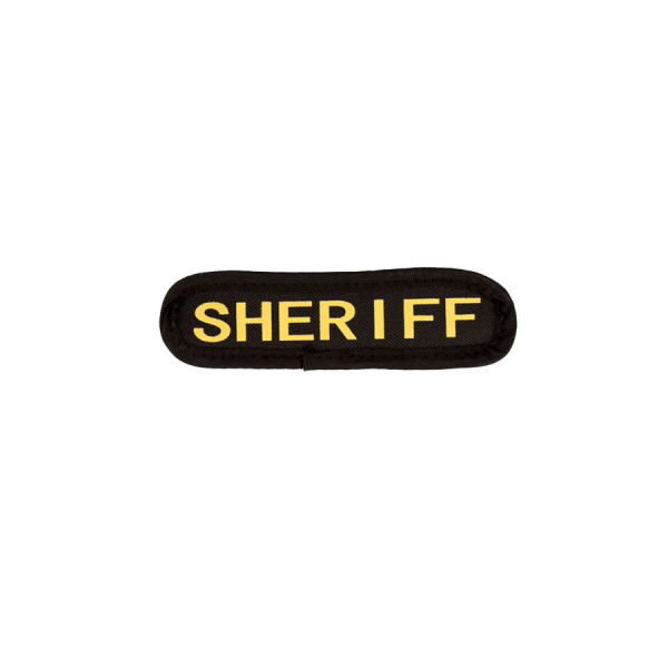 """""""SHERIFF"""" Small Embroidered Name Plate – LE Gold"""