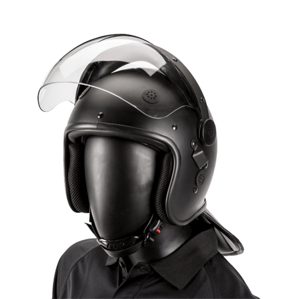 Riot Helmet, One-size fit, Black Matte, Bubble Visor - visor open