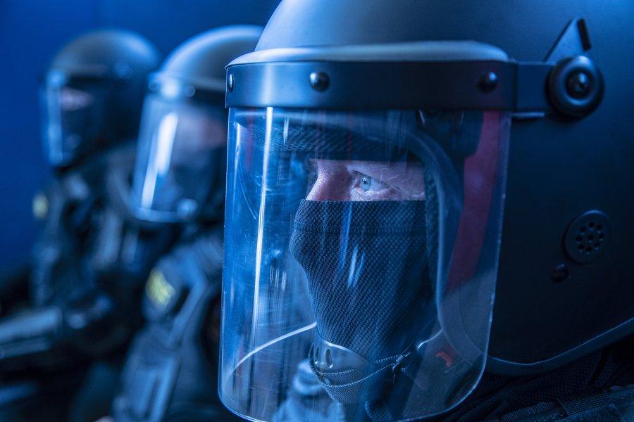 Face shields. Protection. Riot Gear Helmets. Police law enforcement