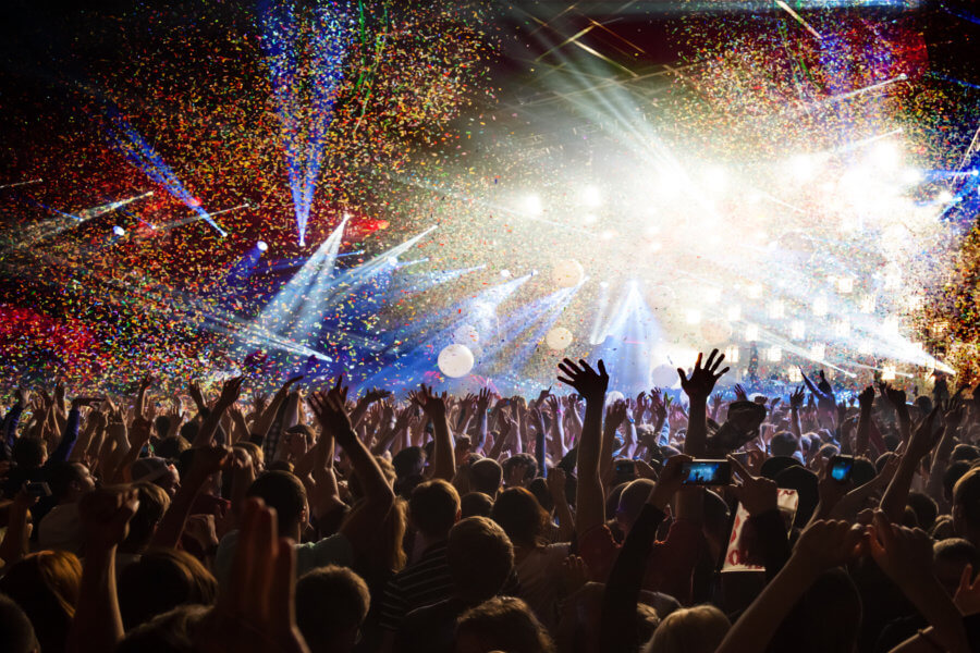 safe in crowds Fun concert party disco light background